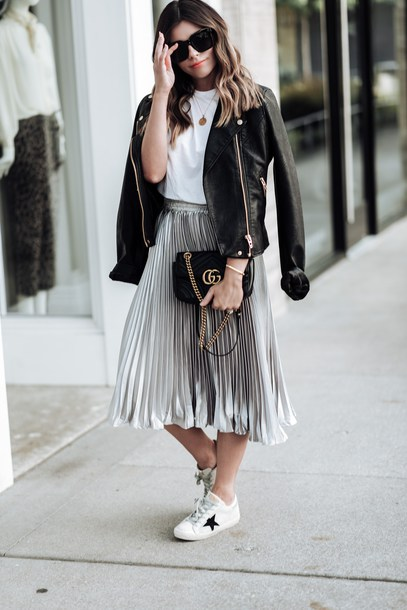 z78vdu-l-610x610-skirt-midi+skirt-metallic+pleated+skirt-t+shirt-gucci+bag-white+sneakers-leather+jacket-crossbody+bag-blogger-blogger+style